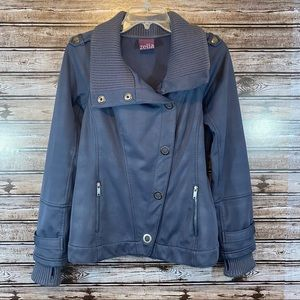 Zella- Snap Front Steel Blue/Gray Jacket